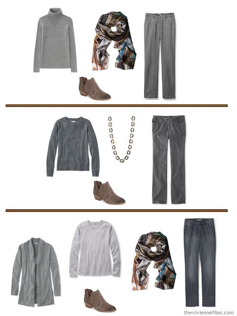3 ways to accessorize grey clothes with warm-colored accessories