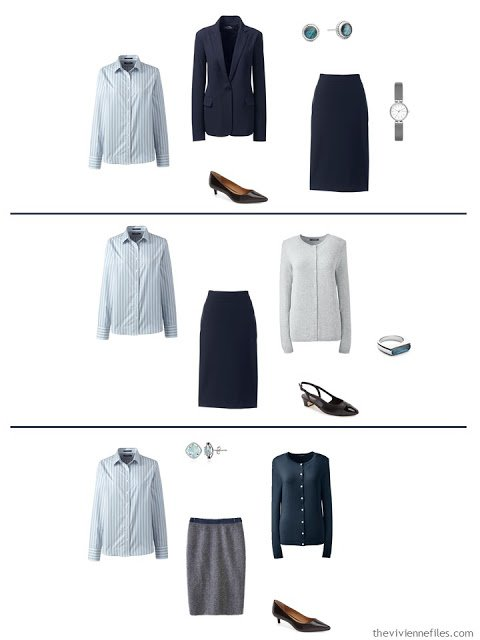 three ways to wear an accent striped shirt in a work capsule wardrobe