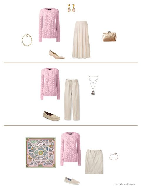 three ways to wear a pink sweater from a capsule wardrobe based upon an Hermes scarf