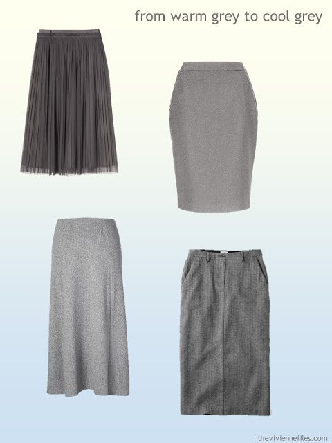 grey skirts from warm grey to cool grey