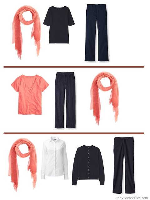 3 ways to wear a coral scarf with A Common Wardrobe in navy and white