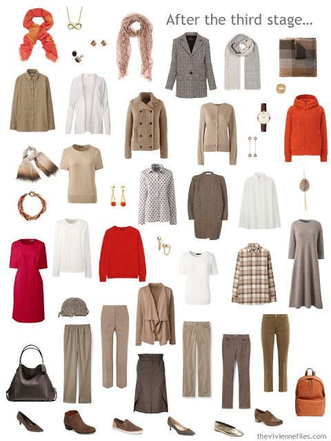 23-piece work capsule wardrobe in shades of brown with accents of red and orange