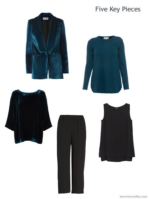 Five Key Pieces in teal and black