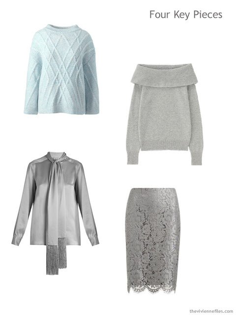 Four Key Pieces in mint and silver grey for the holidays