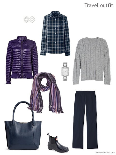 travel outfit for cool weather in navy and grey with a purple coat and scarf