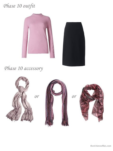adding a scarf to a 4 by 4 Wardrobe in black, taupe and pink