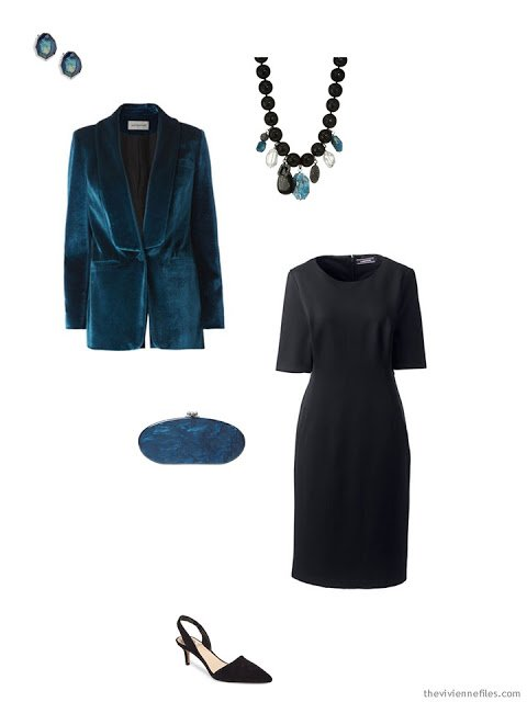 a teal blazer and black dress for the holidays