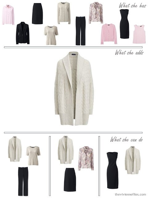 Adding a taupe cardigan to a 4 by 4 Wardrobe