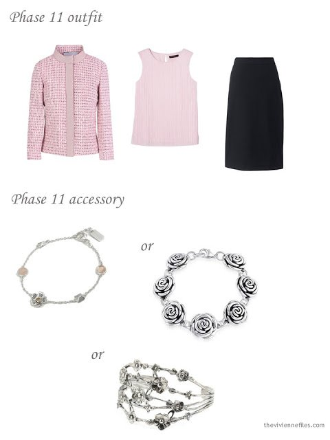 adding a floral bracelet to a dressy 4 by 4 wardrobe in pink, black and taupe