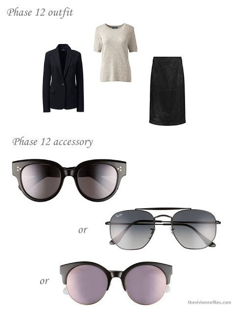 adding sunglasses to a dressy 4 by 4 Wardrobe in black, pink and taupe