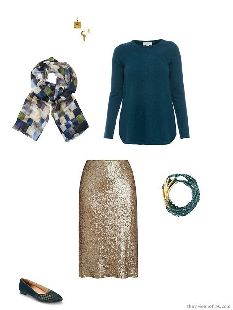 a teal sweater and gold skirt, for the holidays