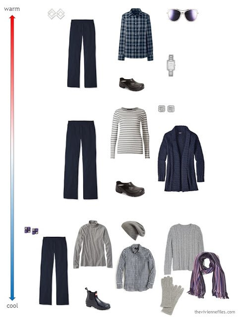 3 ways to wear navy pants for changing weather