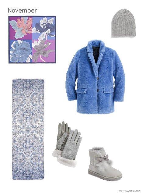 blue fleece winter coat with grey accessories