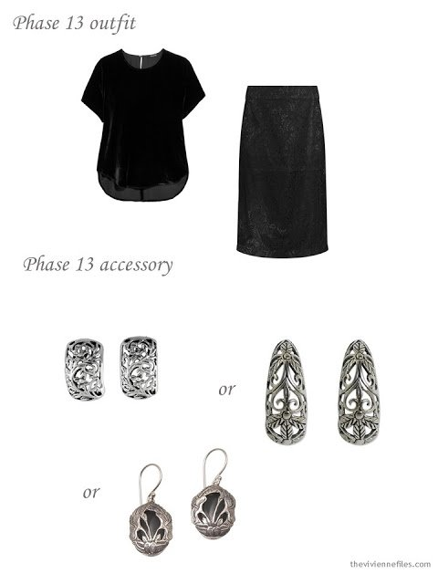adding floral earrings to a dressy 4 by 4 Wardrobe in black, pink and taupe