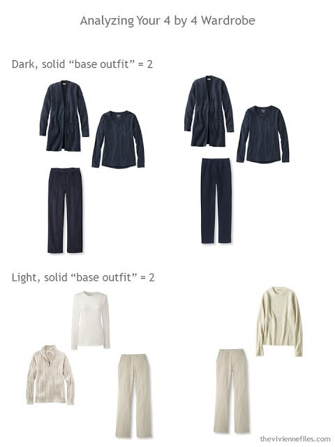 "Analyzing a 4 by 4 Wardrobe for solid-color ""base"" outfits"