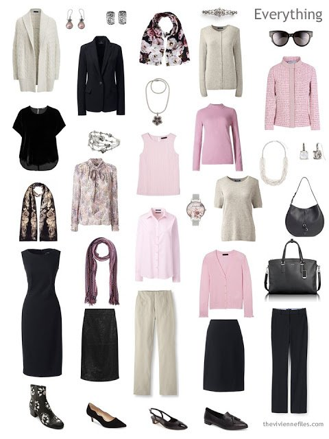a 16-piece 4 by 4 Wardrobe in black, taupe and pink, with accessories