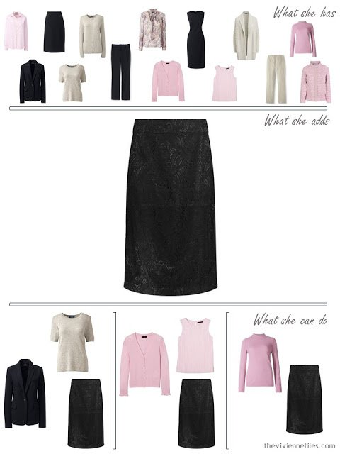 adding a black lace skirt to a 4 by 4 Wardrobe