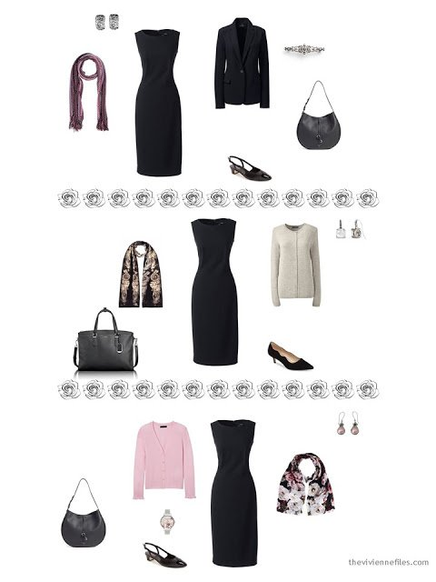 3 ways to wear a black dress from a dressy 4 by 4 Wardrobe in black, taupe and pink