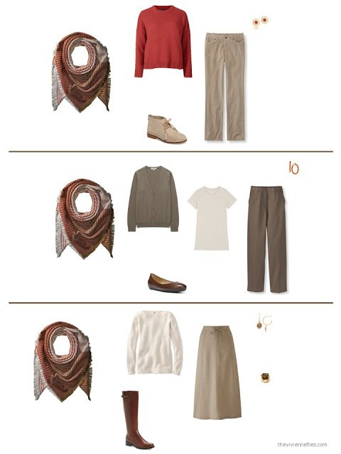 3 outfits built around a brown, beige and orange scarf
