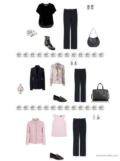 3 ways to wear black pants from a dressy 4 by 4 Wardrobe in black, taupe and pink