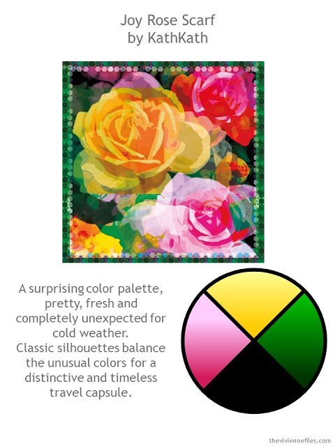 The Joy Rose Scarf with style guidelines and color palette