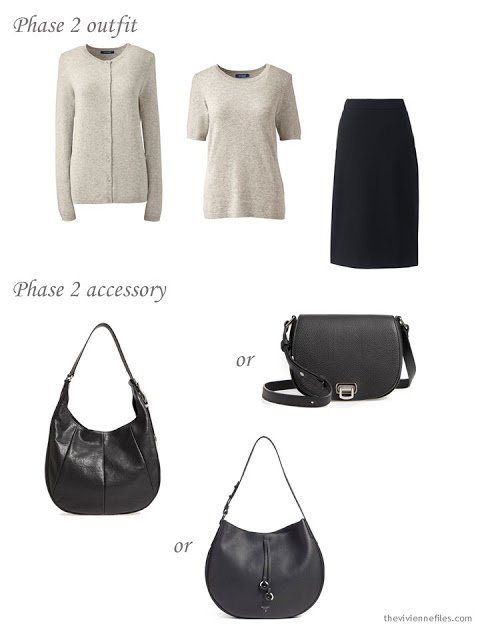 adding a handbag to a dressy 4 by 4 Wardrobe in black, taupe and pink