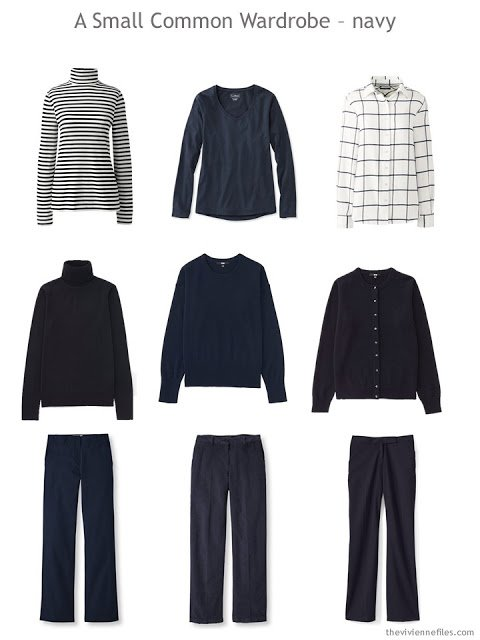 A Common Wardrobe in navy and white for cold weather