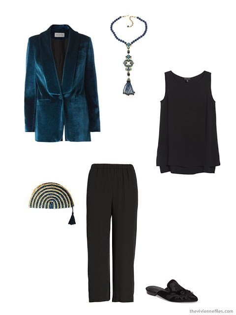 a teal blazer and black silk top and pants for the holidays