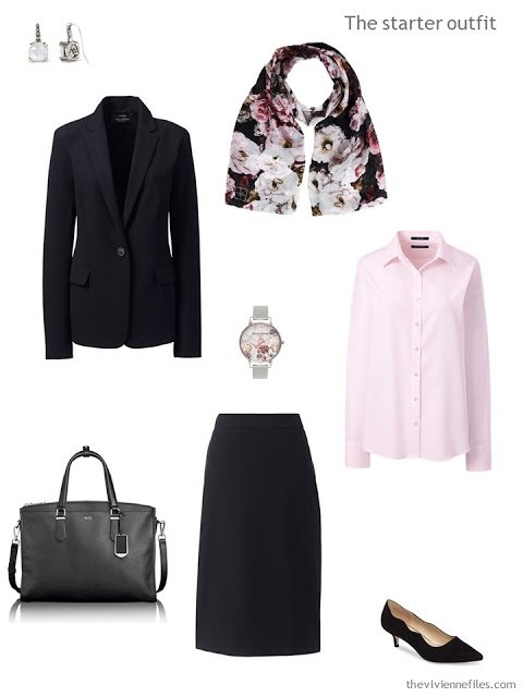 An interview outfit in black and pink