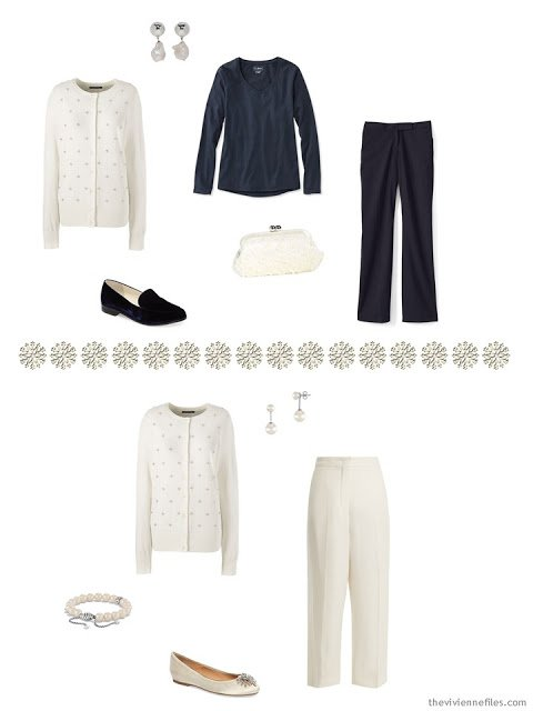 2 ways to wear a winter white embellished cardigan
