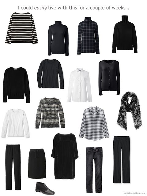 a 16-piece travel wardrobe in black and white