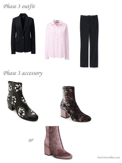 adding floral boots to a 4 by 4 dressy wardrobe in black, taupe and pink