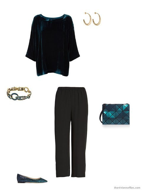 a teal velvet top and black silk pants, for the holidays