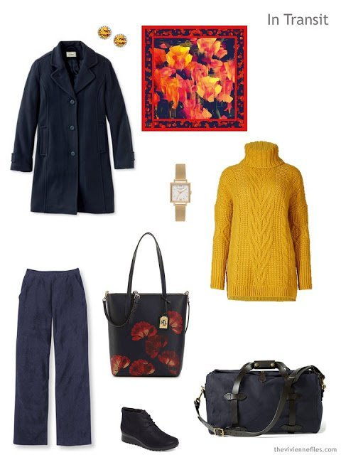 travel outfit in navy and gold with the Red Tulip Scarf from KathKath