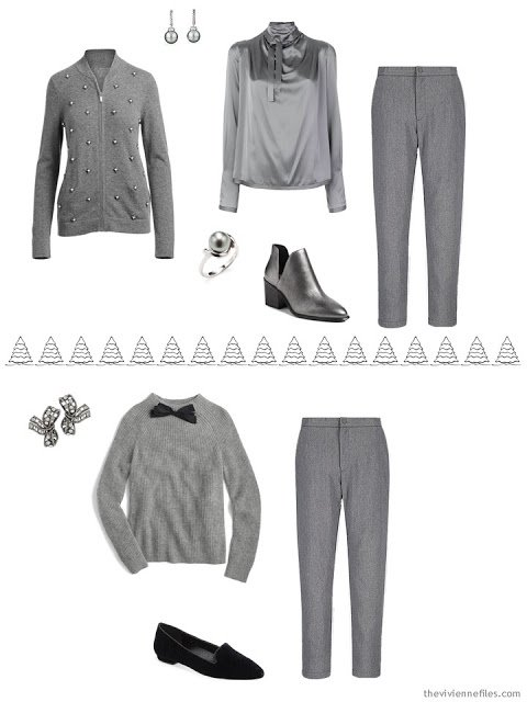 2 grey outfits for the winter holidays
