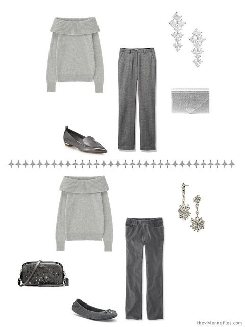two ways to wear a grey off-the-shoulder sweater with A Common Wardrobe