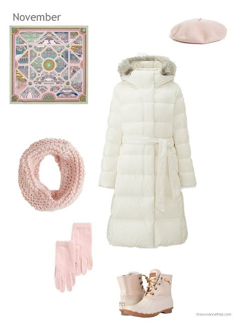 a cream down winter coat with pink accessories