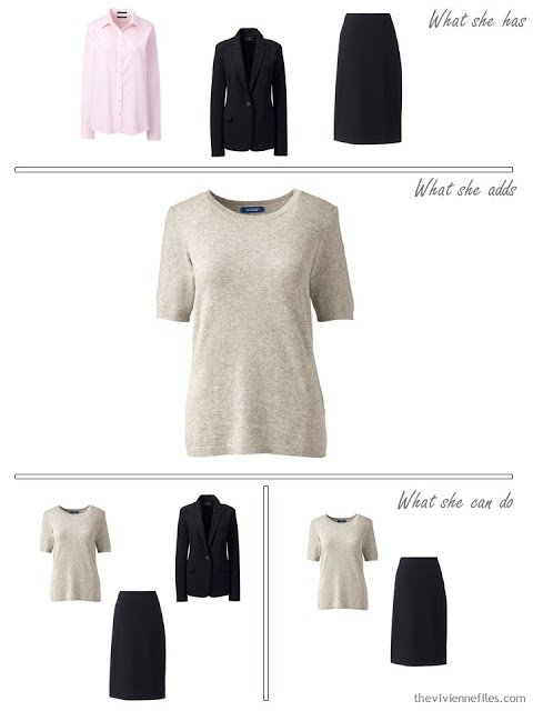 adding a taupe sweater to a 4 by 4 wardrobe