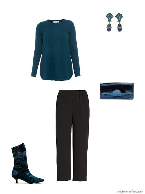 a teal sweater and black silk pants, for the holidays