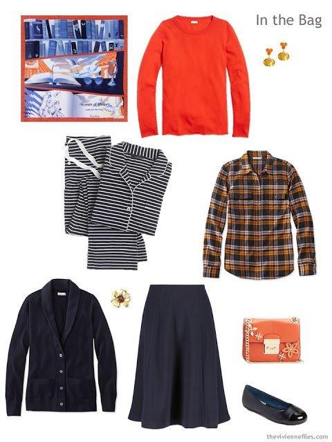 overnight travel capsule wardrobe in navy and orange