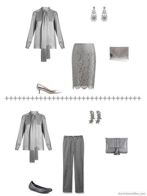 two ways to wear a grey satin blouse with A Common Wardrobe