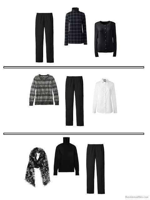 3 outfits from a travel capsule wardrobe in black and white