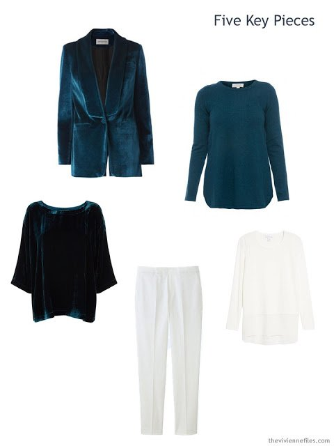 Five Key Pieces in teal and winter white