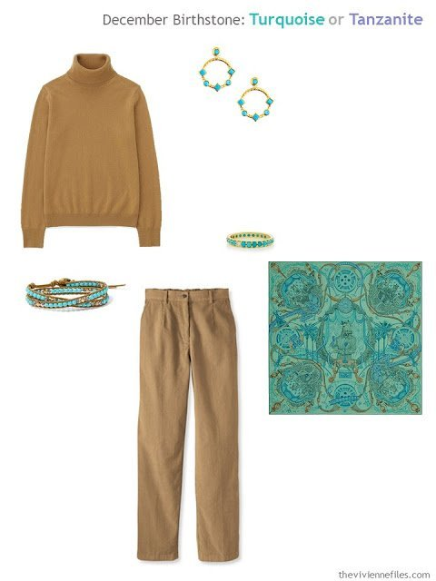 a camel outfit worn with turquoise jewelry and an Hermes scarf