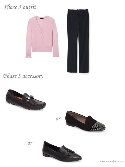 adding black loafers to a 4 by 4 Wardrobe in black, taupe and pink