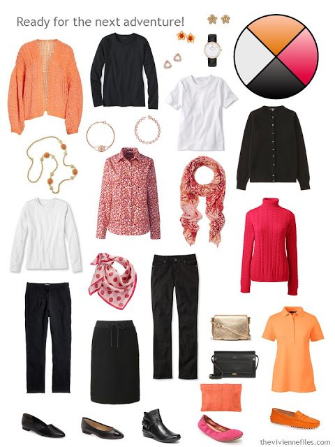 travel capsule wardrobe in black and white with orange and hot pink accents