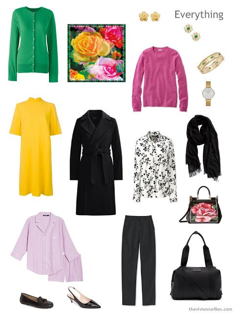 overnight travel capsule wardrobe in black and white with green, yellow and pink accents