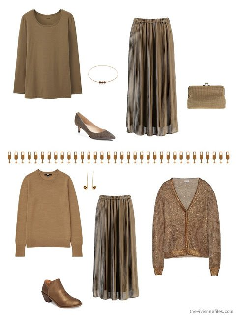 2 outfits for the December and January holidays in copper brown