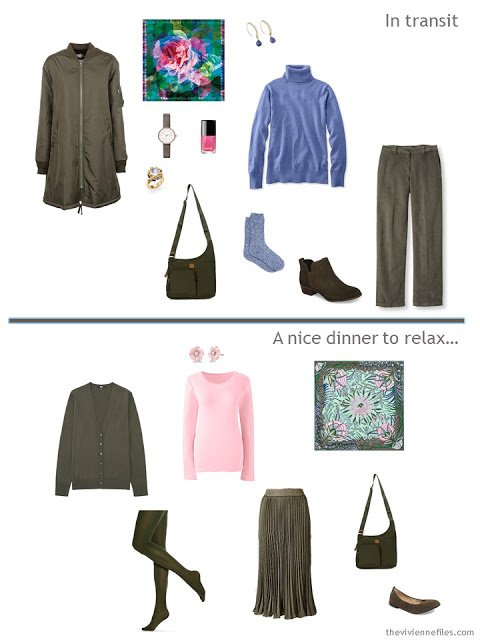 2 outfits from a travel capsule wardrobe in olive with blue, pink and green accents