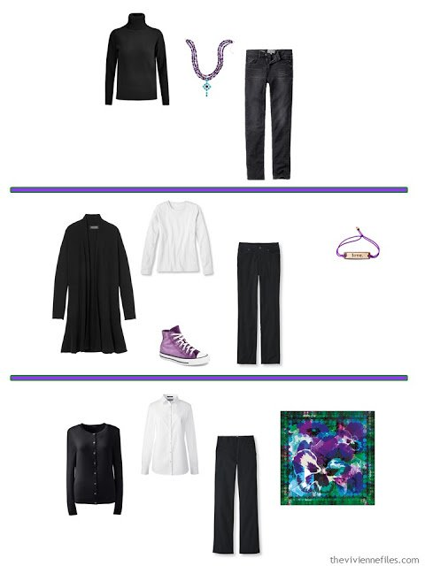 3 ways to wear bright accessories with A Common Wardrobe in black and white